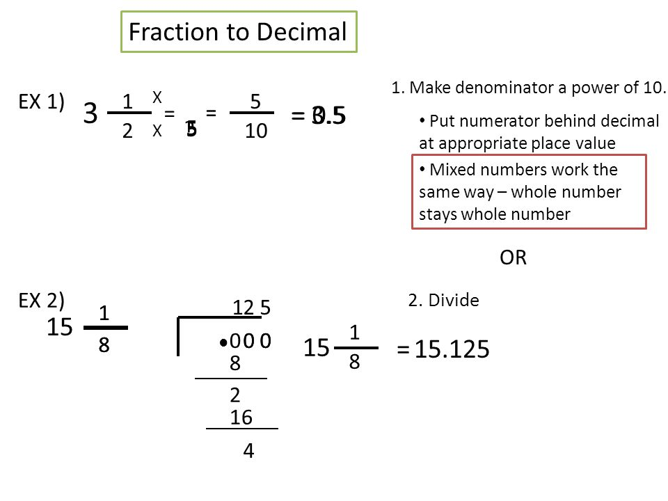 Fraction To Decimal And Percent Fraction To Decimal 2 Divide 1 2 Ex 1 1 Make Denominator A Power Of 10 Or X X 5 10 5 5 Put Numerator Behind Decimal Ppt Download