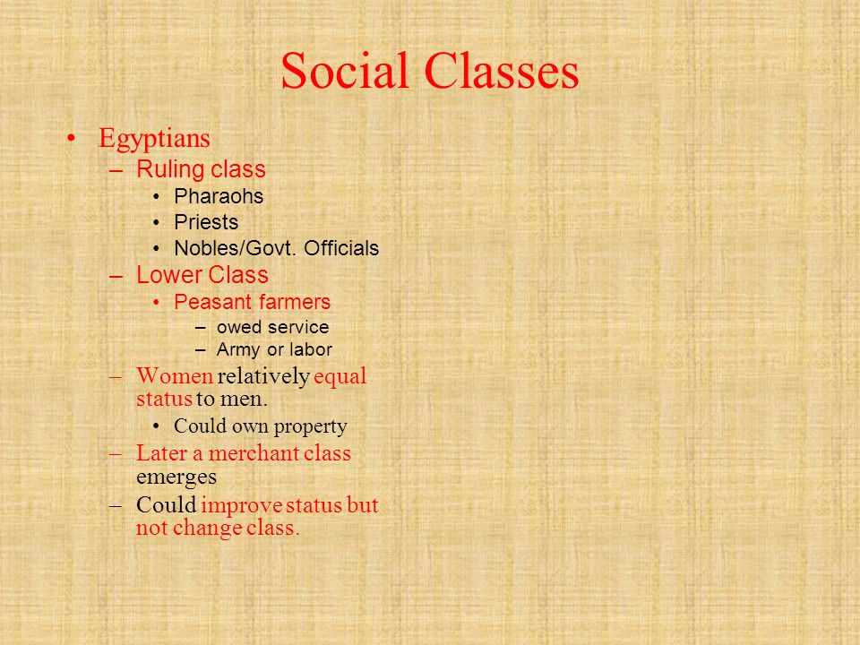 Social Classes Egyptians – Ruling class Pharaohs Priests Nobles/Govt.