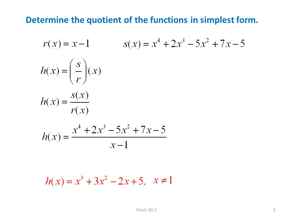 simplest form functions  Product and Quotients of Functions Sum Difference Product ...