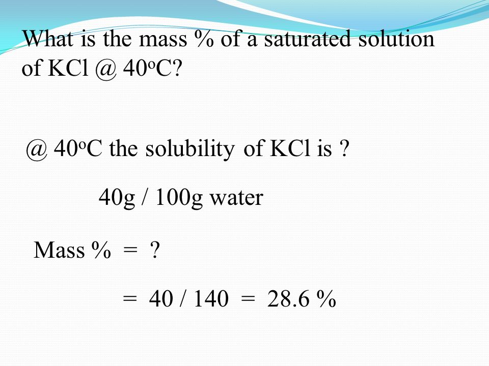 What is the mass % of a saturated solution of 40 o C.