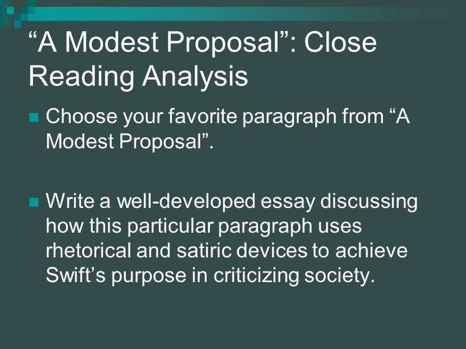 how to write a modest proposal