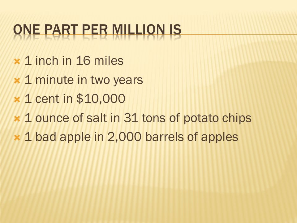 Ppm Ppb Ppt Parts Per Million 1 In 1000000. Ppm 5 1 Inch In 16 Miles Minute Two Years Cent 10000 Ounce Of Salt 31 Tons Potato Chips Bad Apple 2000 Barrels. Worksheet. Parts Per Million Worksheet At Clickcart.co