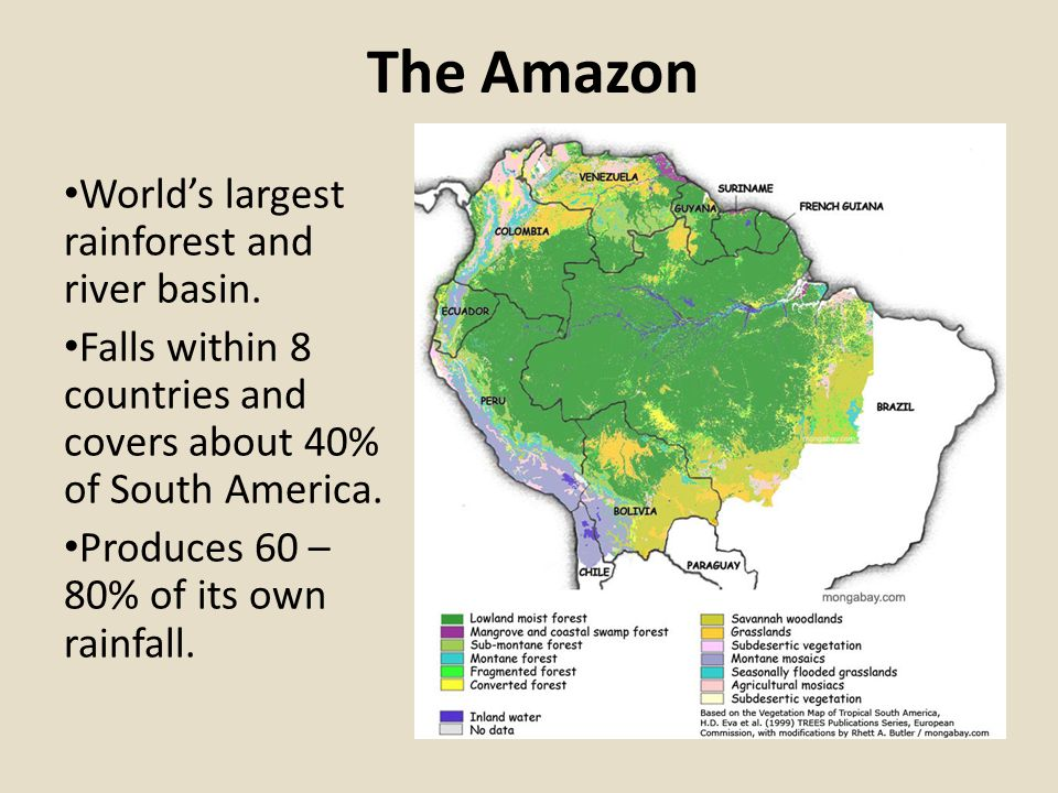 The Amazon World's largest rainforest and river basin. Falls ... on