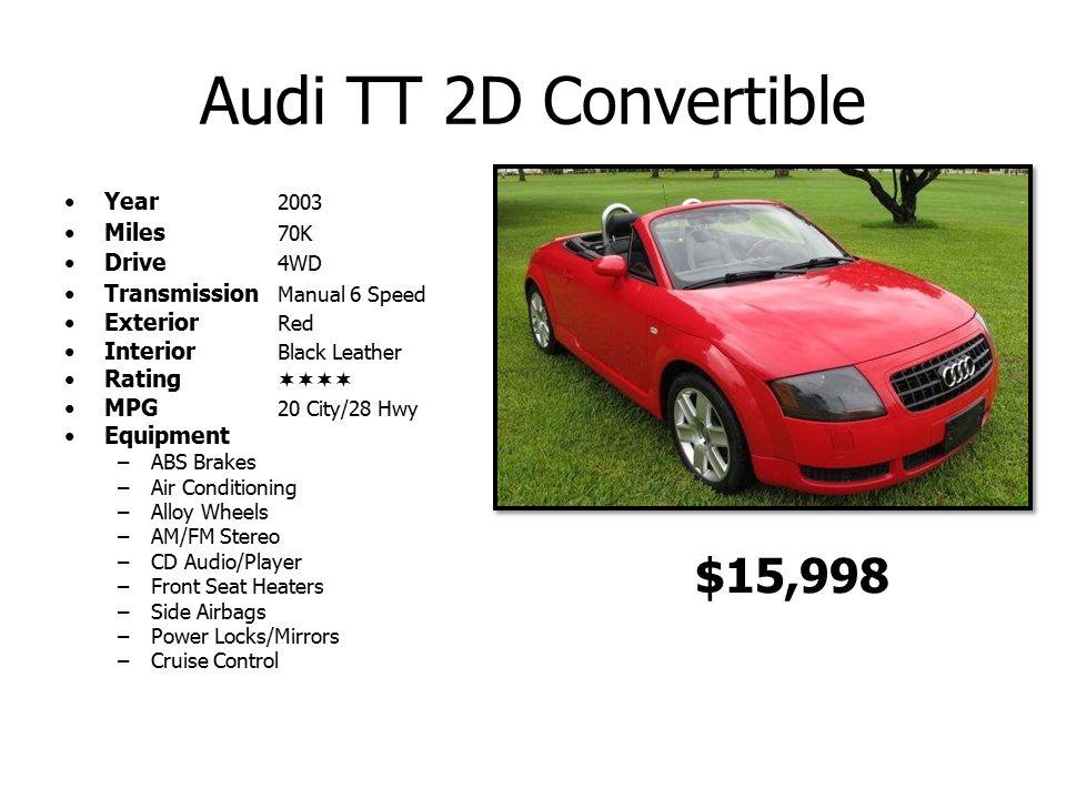 audi tt 2d convertible year 2003 miles 70k drive 4wd transmission rh slideplayer com Honda Manual Audi Coupe Manual