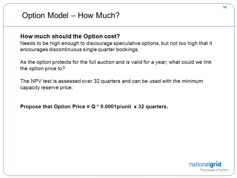 14 Option Model – How Much. How much should the Option cost.