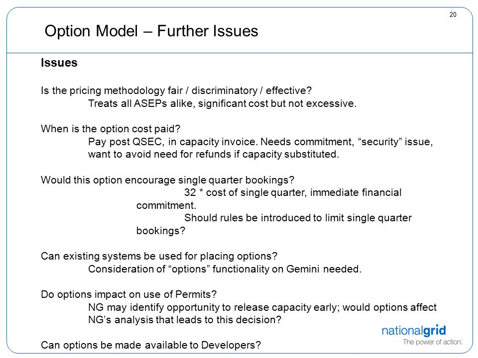 20 Option Model – Further Issues Issues Is the pricing methodology fair / discriminatory / effective.