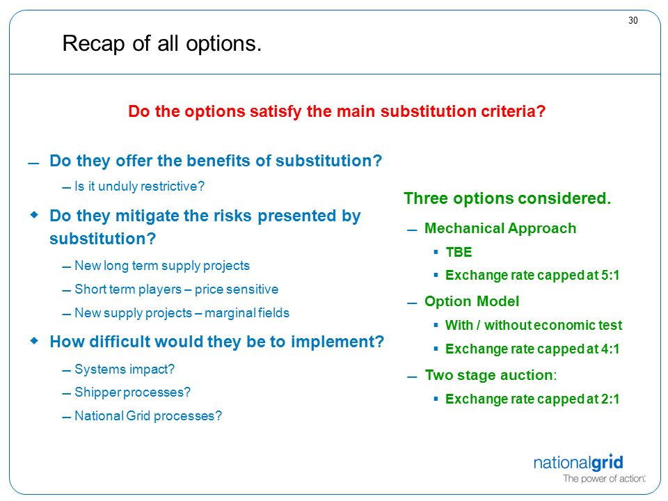 30 Recap of all options. Do they offer the benefits of substitution.