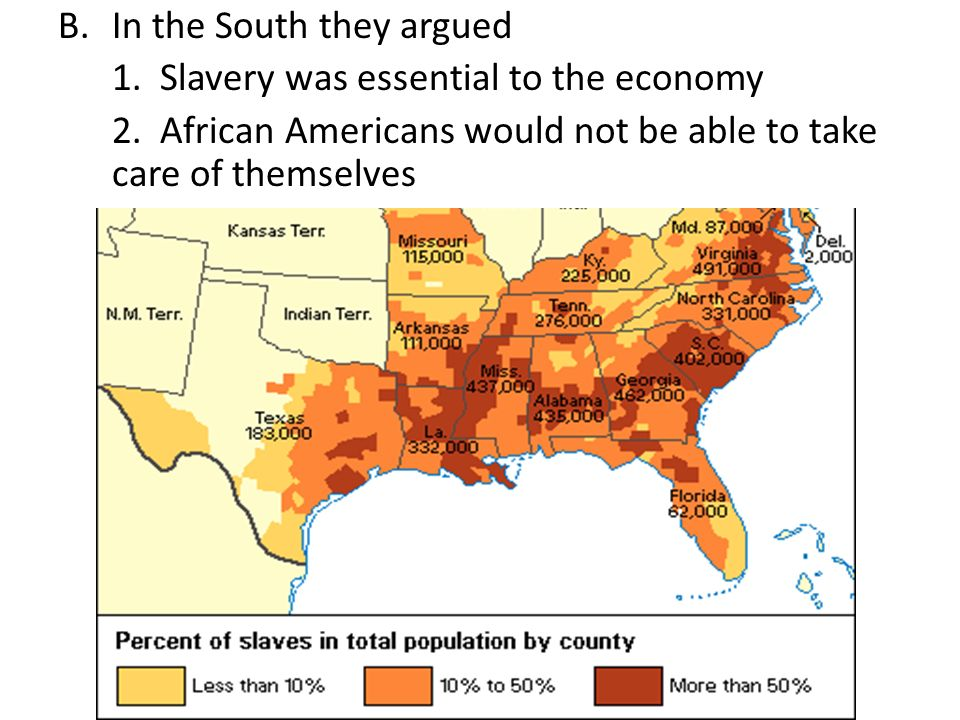 B.In the South they argued 1. Slavery was essential to the economy 2.