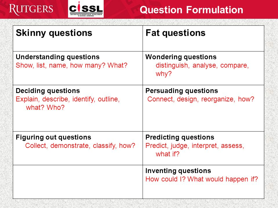 Question Formulation Skinny questionsFat questions Understanding questions Show, list, name, how many.