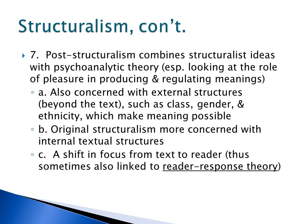post structuralism Definition of post-structuralism - an extension and critique of structuralism, especially as used in critical textual analysis.