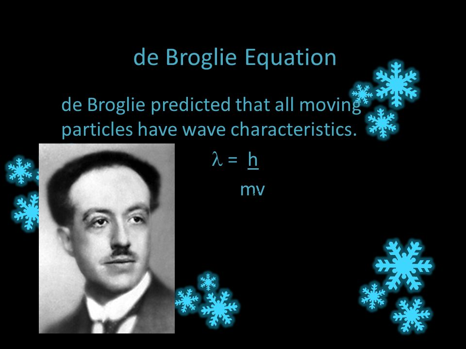 de Broglie Equation de Broglie predicted that all moving particles have wave characteristics.