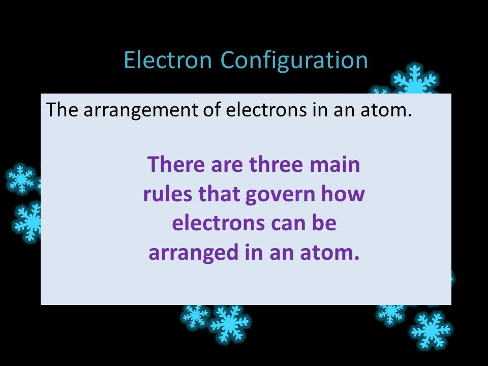Electron Configuration The arrangement of electrons in an atom.