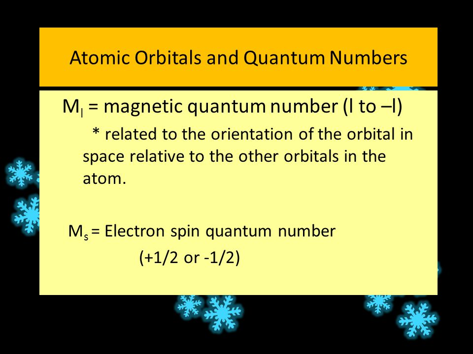 Atomic Orbitals and Quantum Numbers M l = magnetic quantum number (l to –l) * related to the orientation of the orbital in space relative to the other orbitals in the atom.