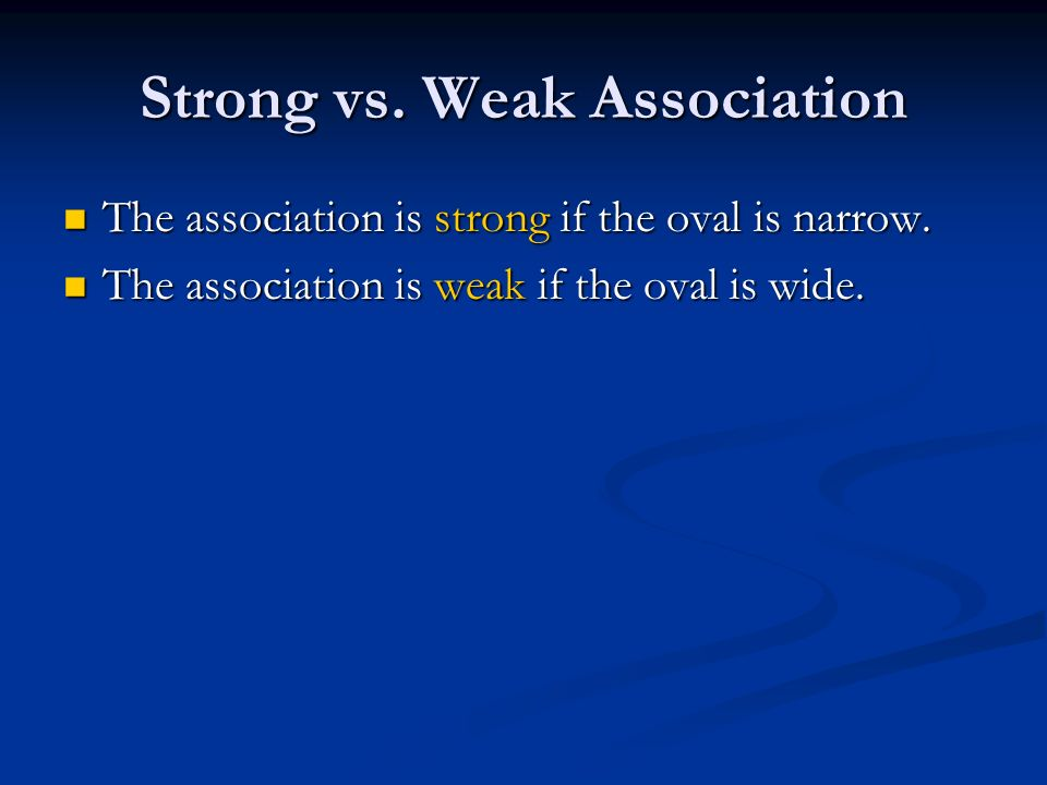 Strong vs. Weak Association The association is strong if the oval is narrow.