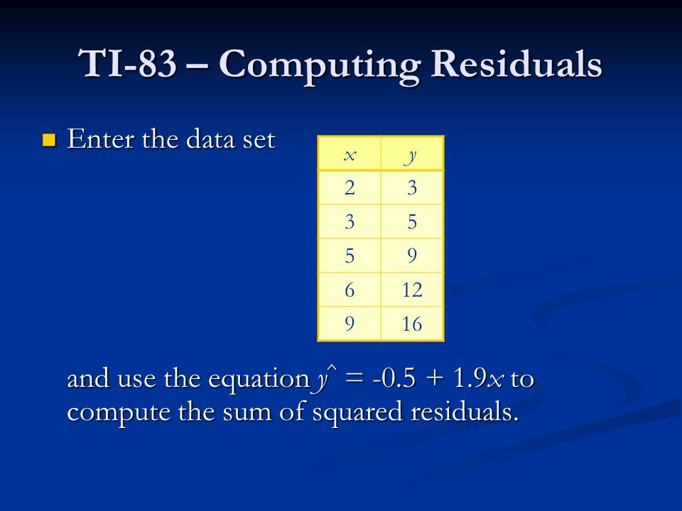 TI-83 – Computing Residuals Enter the data set Enter the data set and use the equation y ^ = x to compute the sum of squared residuals.