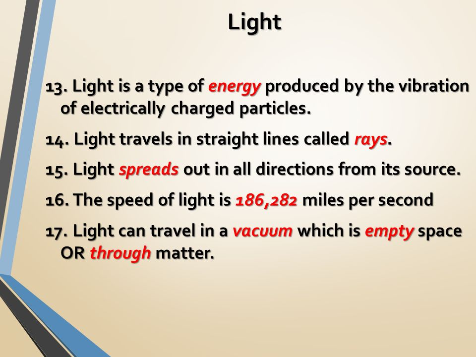 Light 13. Light is a type of energy produced by the vibration of electrically charged particles.