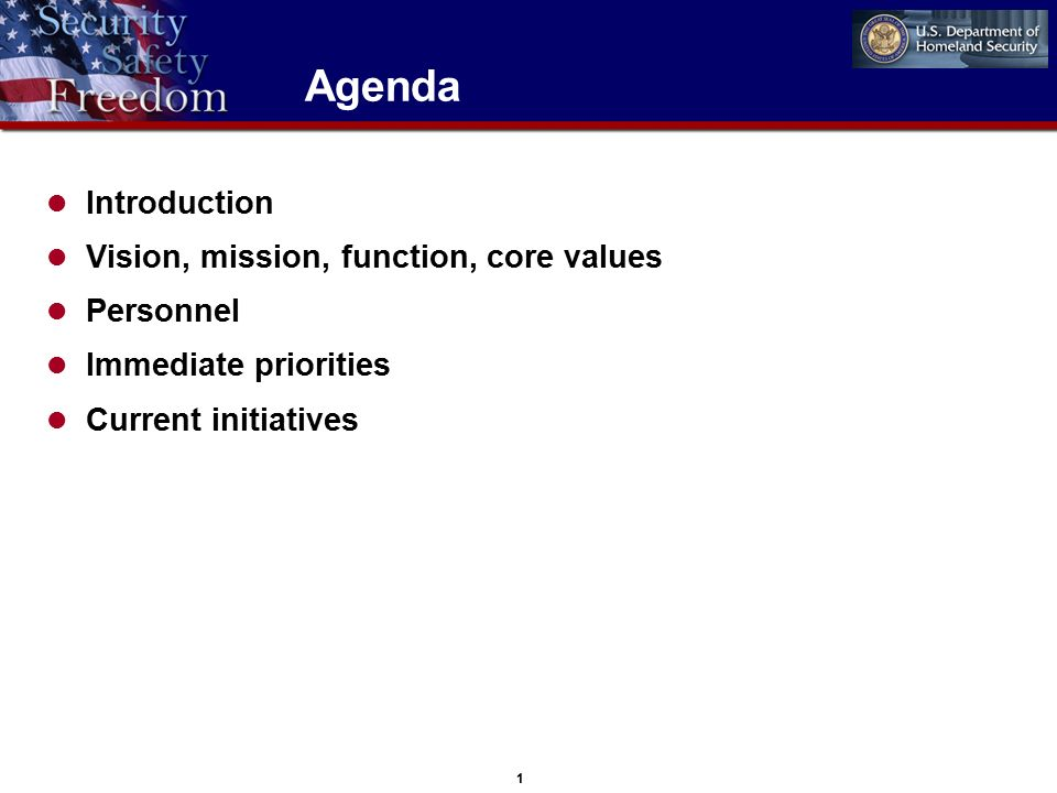 1 Agenda Introduction Vision, mission, function, core values Personnel Immediate priorities Current initiatives