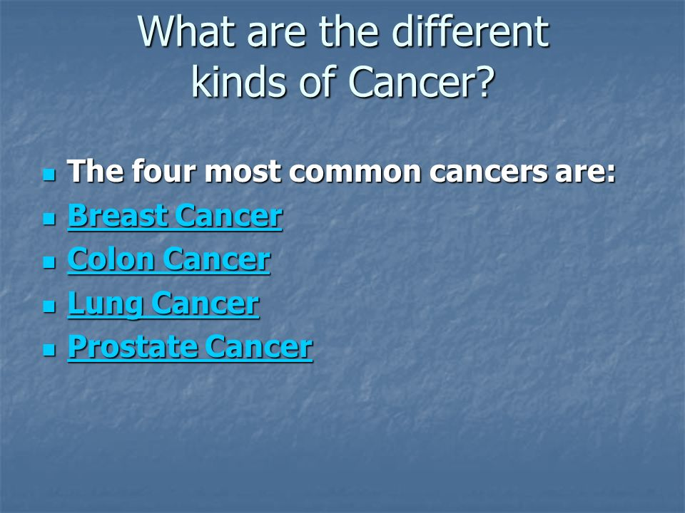 What are the different kinds of Cancer.