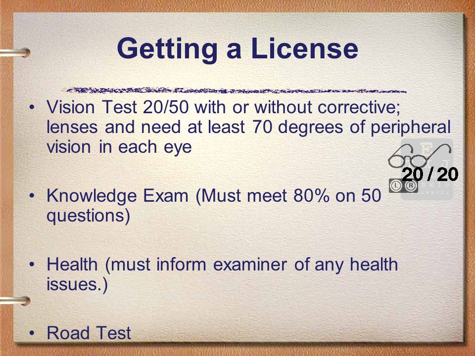 2 Getting a License Vision Test 20/50 ...