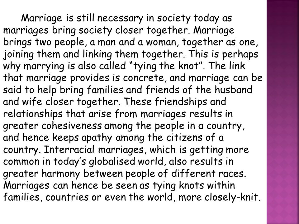 Marriage in todays society