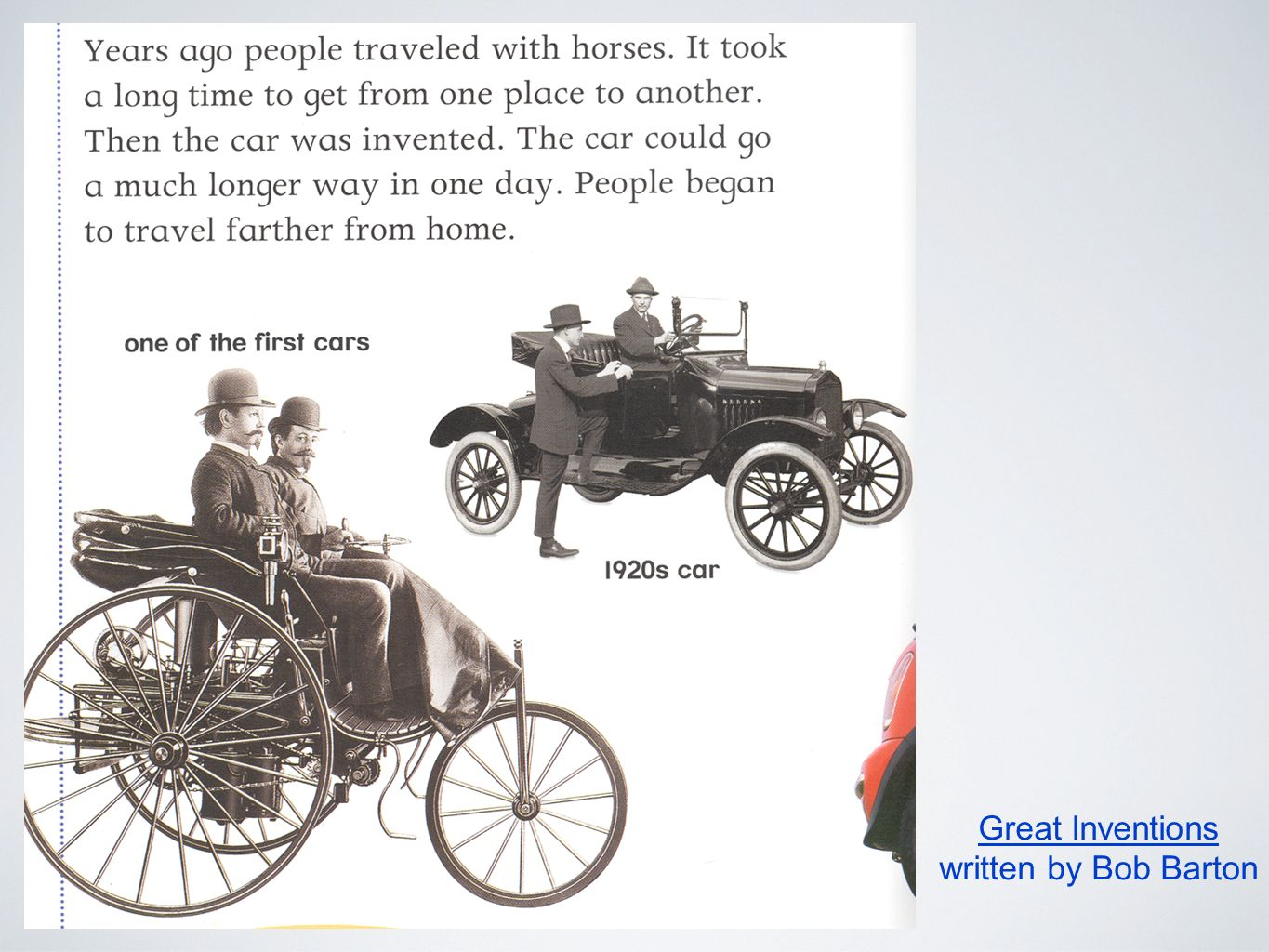 Automobiles Cars. Cars Early cars were called horseless carriages ...