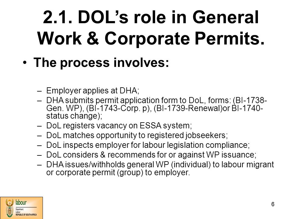 1 Role of the Department of Labour in International /Cross
