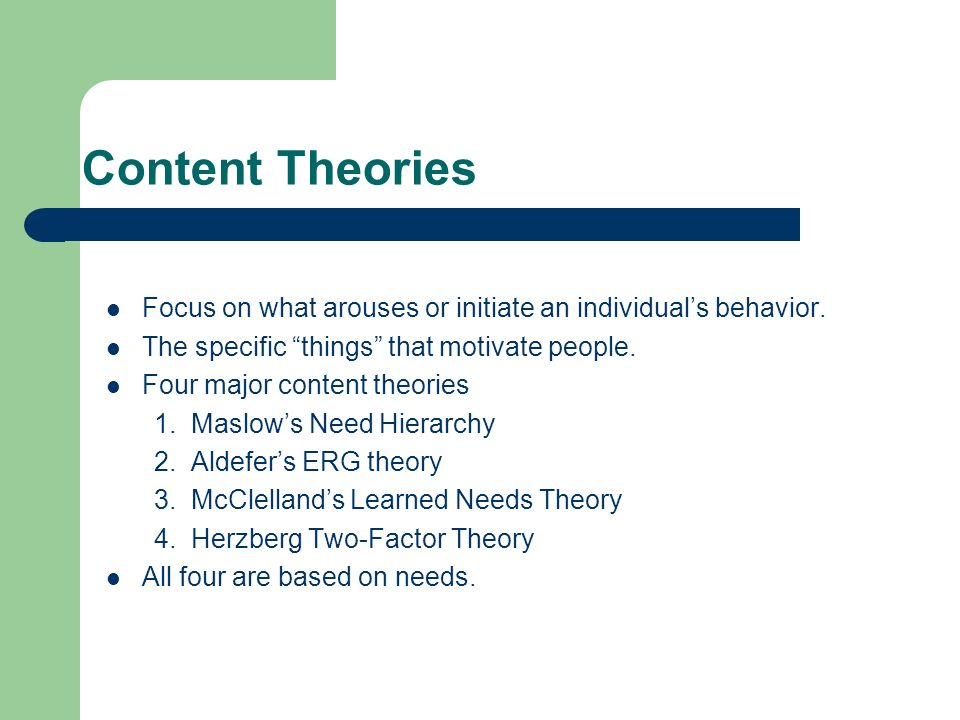 four content theories of motivation