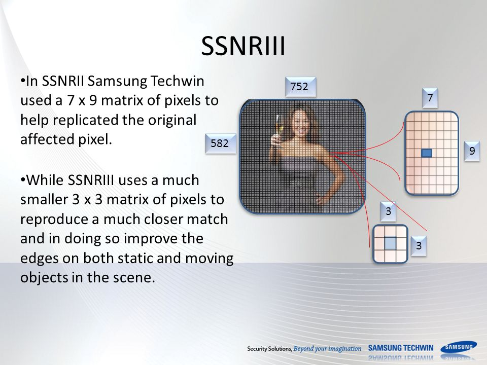 SSNRIII In SSNRII Samsung Techwin used a 7 x 9 matrix of pixels to help replicated the original affected pixel.