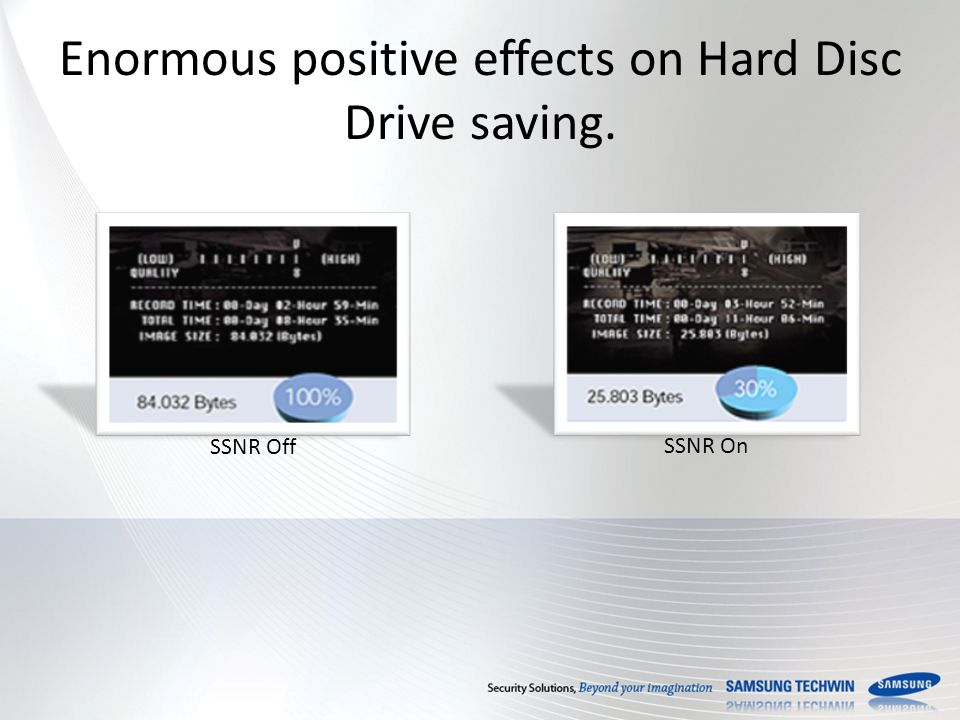 Enormous positive effects on Hard Disc Drive saving. SSNR Off SSNR On