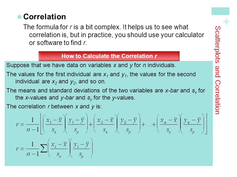 + Scatterplots and Correlation CorrelationThe formula for r is a bit complex.