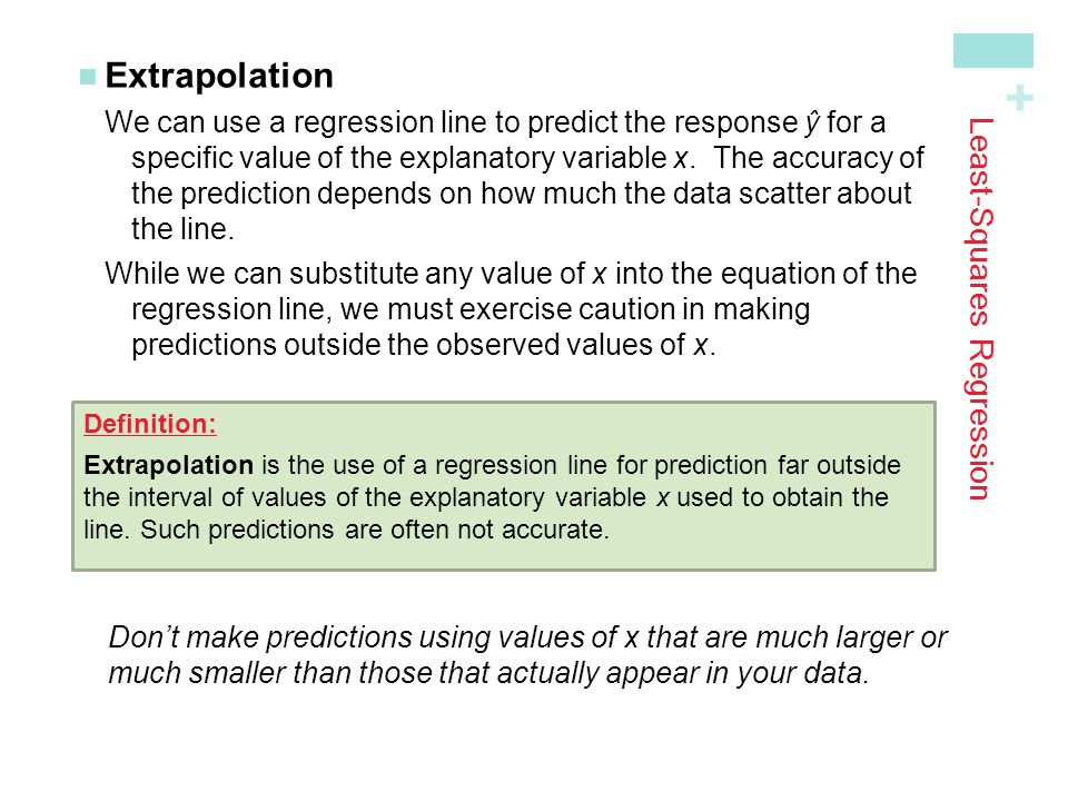 + Least-Squares Regression ExtrapolationWe can use a regression line to predict the response ŷ for a specific value of the explanatory variable x.