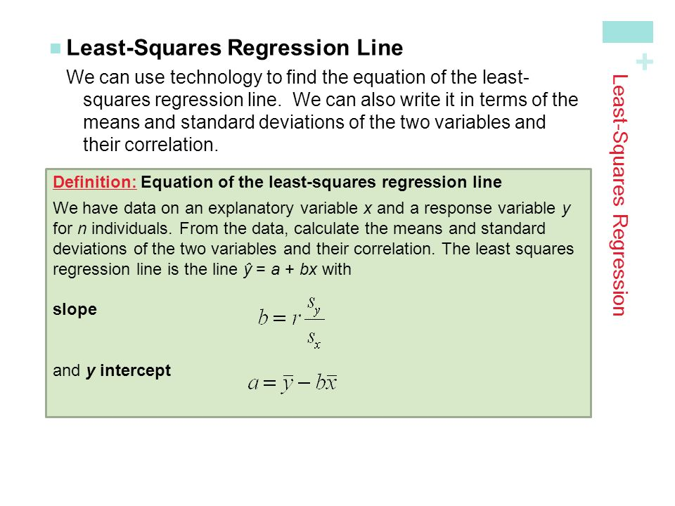 + Least-Squares Regression Least-Squares Regression LineWe can use technology to find the equation of the least- squares regression line.