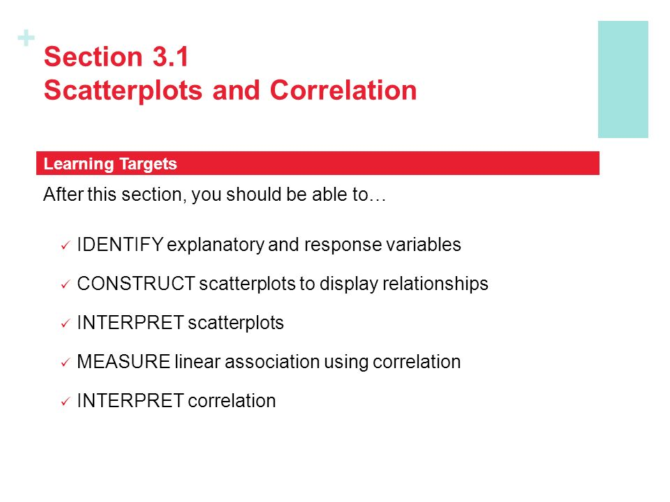 + Section 3.1 Scatterplots and Correlation After this section, you should be able to… IDENTIFY explanatory and response variables CONSTRUCT scatterplots to display relationships INTERPRET scatterplots MEASURE linear association using correlation INTERPRET correlation Learning Targets