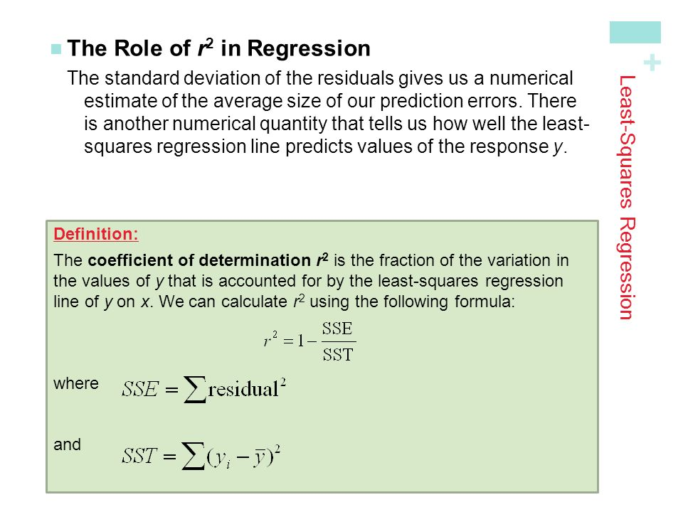 + Least-Squares Regression The Role of r 2 in Regression The standard deviation of the residuals gives us a numerical estimate of the average size of our prediction errors.