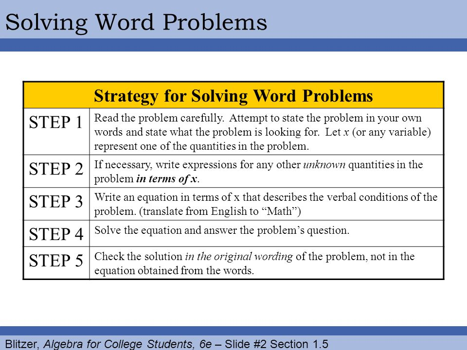 solving word problems algebra