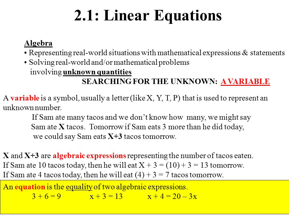 21 Linear Equations Algebra Representing Real World Situations