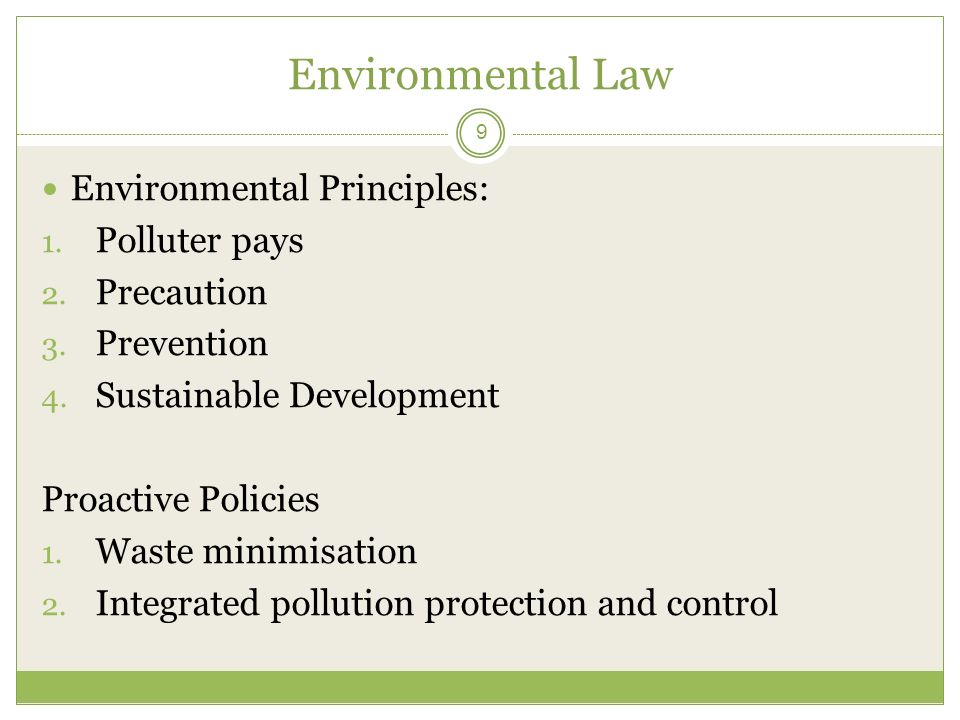 environmental principles and policies