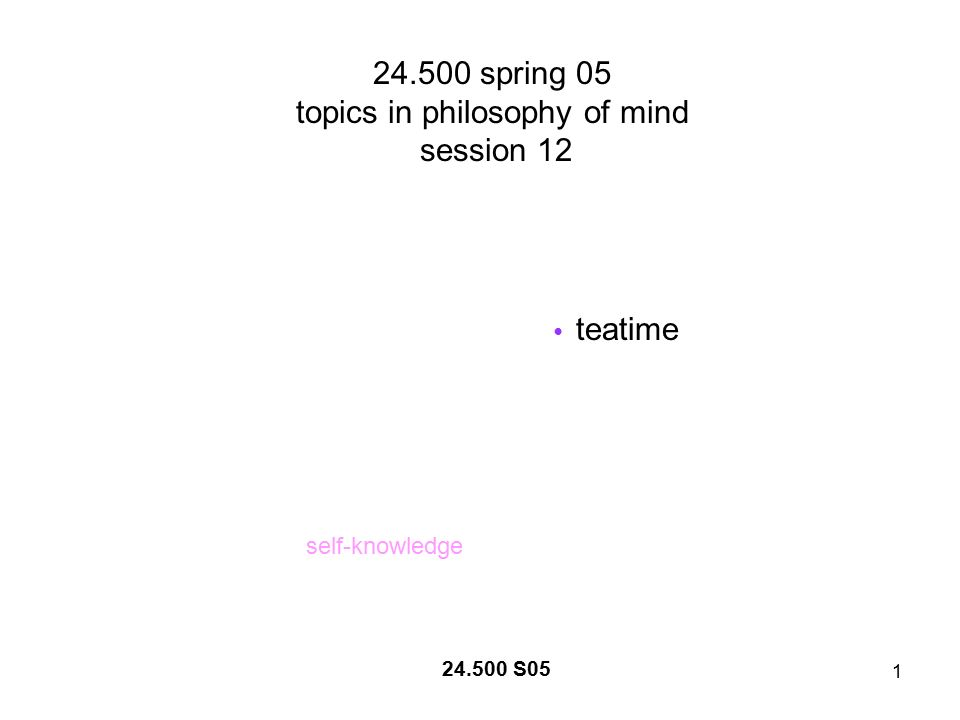 1 24.500 spring 05 topics in philosophy of mind session 12 teatime self-knowledge 24.500 S05