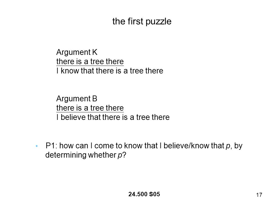 17 24.500 S05 the first puzzle Argument K there is a tree there I know that there is a tree there Argument B there is a tree there I believe that there is a tree there P1: how can I come to know that I believe/know that p, by determining whether p