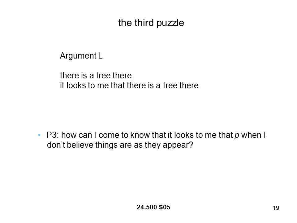 19 24.500 S05 the third puzzle Argument L there is a tree there it looks to me that there is a tree there P3: how can I come to know that it looks to me that p when I don't believe things are as they appear