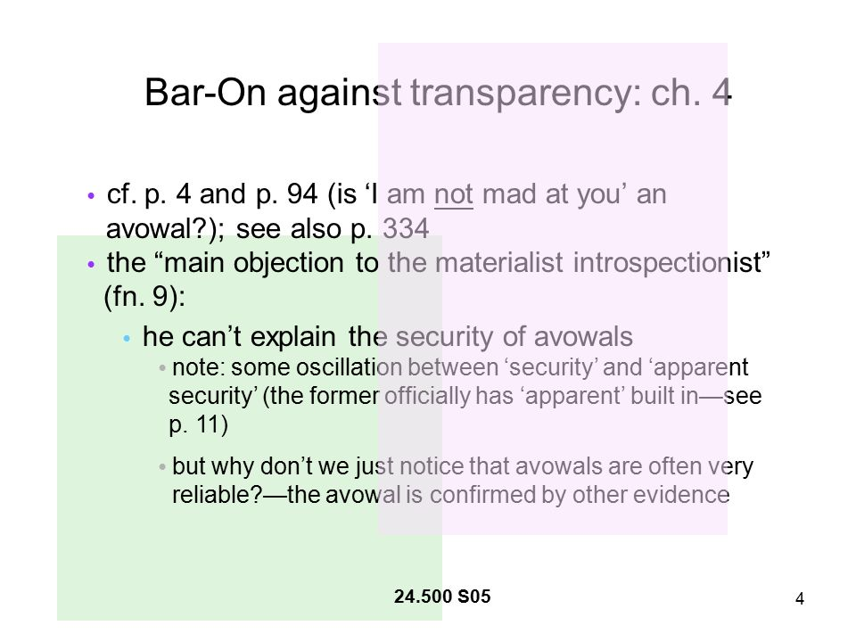 4 24.500 S05 Bar-On against transparency: ch. 4 cf.