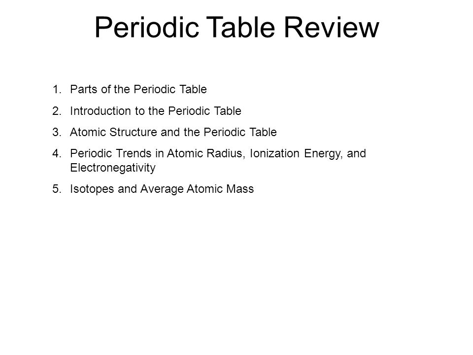 Periodic table review 1rts of the periodic table 2roduction 1 periodic urtaz Gallery