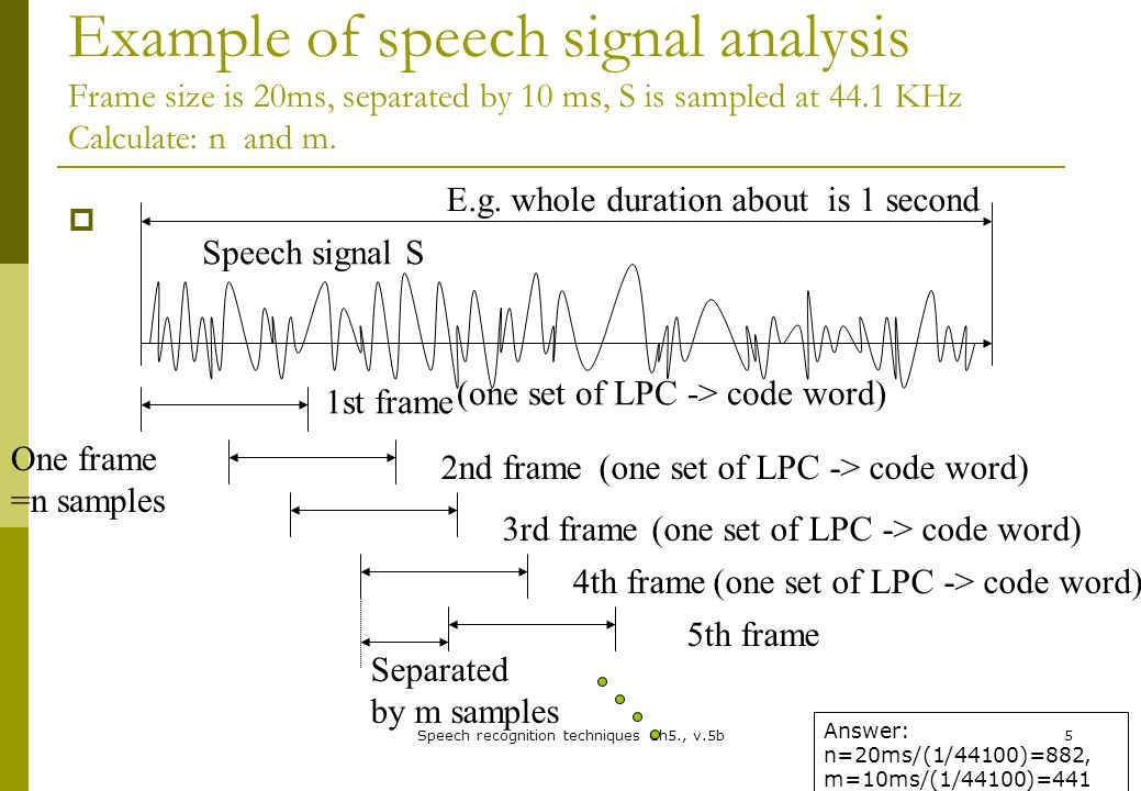 Chapter 5: Speech Recognition An example of a speech