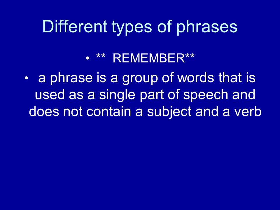 Different types of phrases ** REMEMBER** a phrase is a group of words that is used as a single part of speech and does not contain a subject and a verb