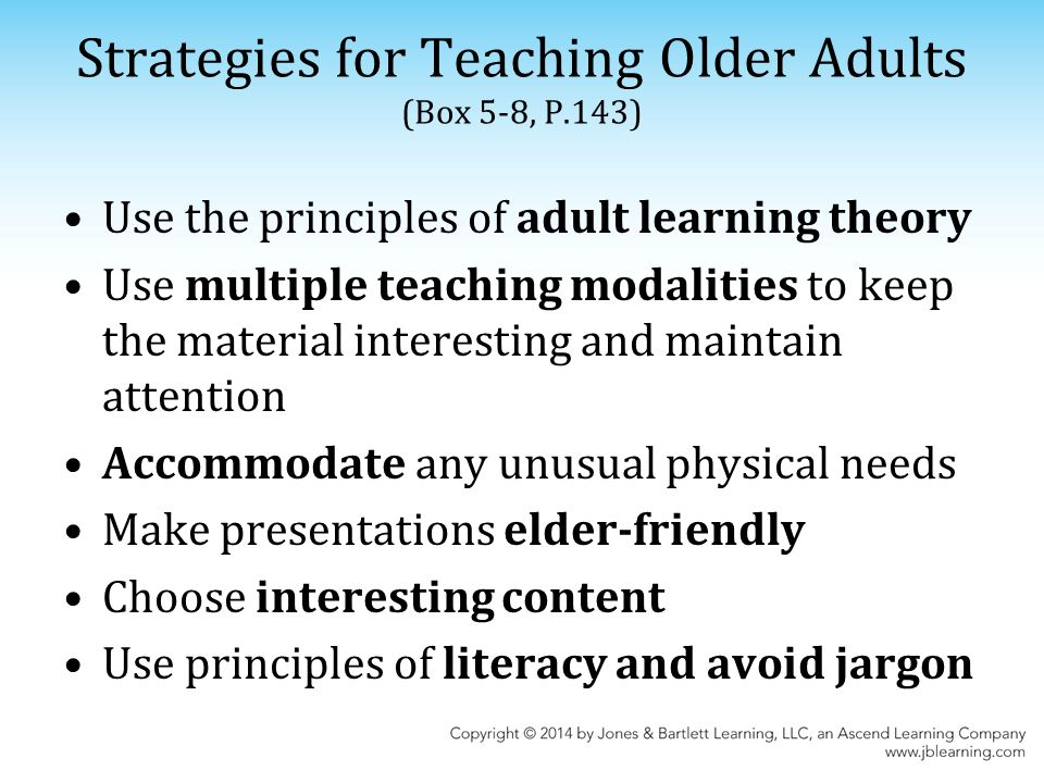 Older adults teaching strategies