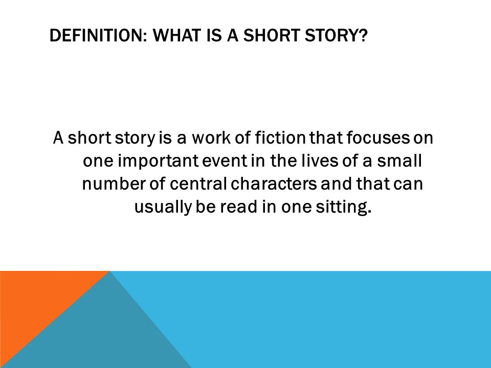 INTRODUCTION TO THE SHORT STORY FICTION