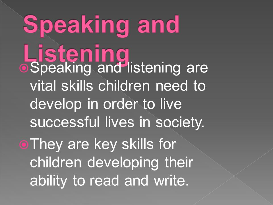  Speaking and listening are vital skills children need to develop in order to live successful lives in society.