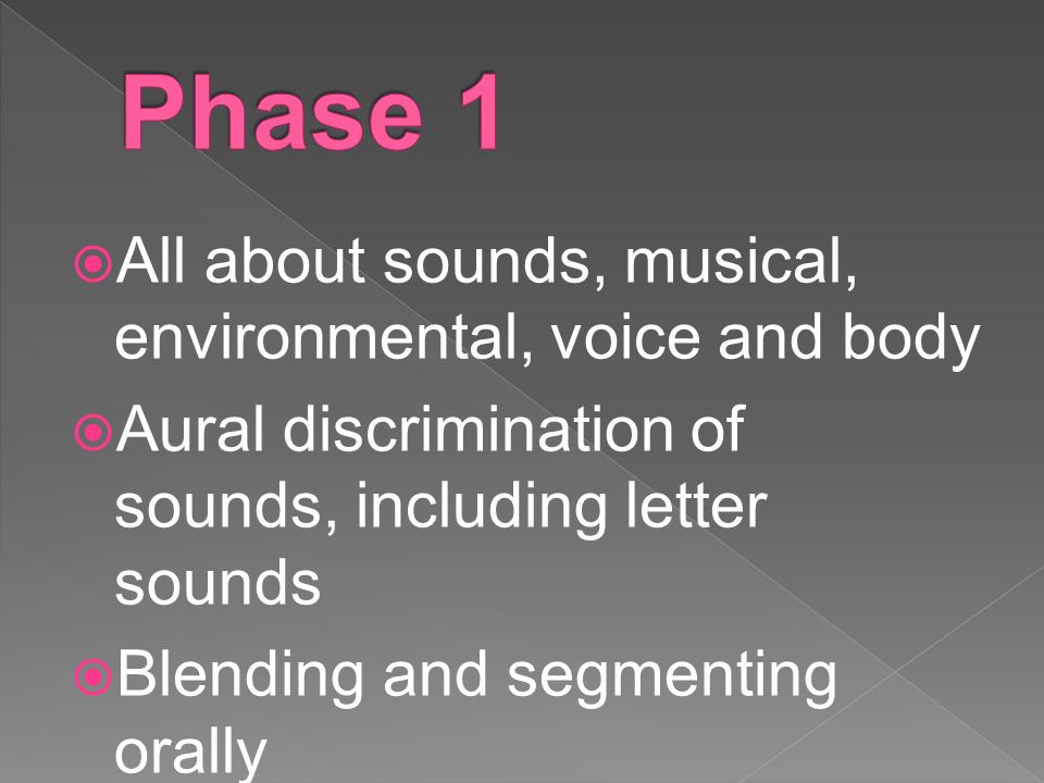  All about sounds, musical, environmental, voice and body  Aural discrimination of sounds, including letter sounds  Blending and segmenting orally