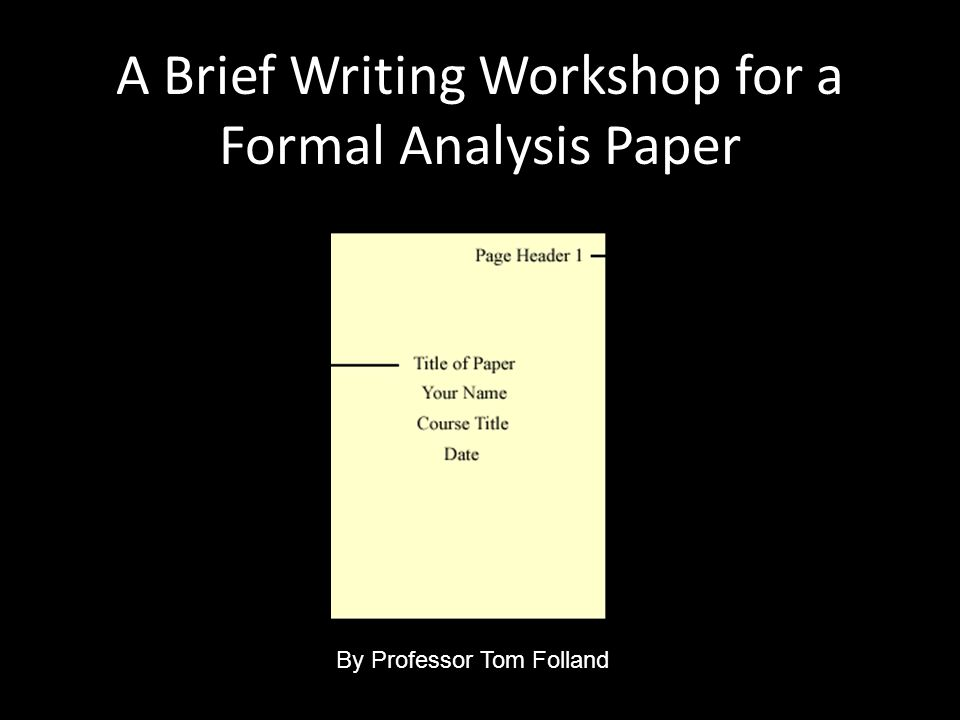 how to write a formal analysis