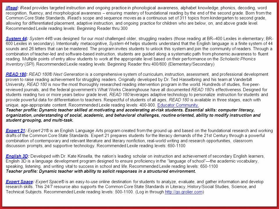 Literacy Programs System 44 Exit Criteria: SPI Advancing, 40